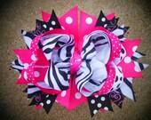 Girls Boutique Hairbow OTT Birthday Bow Zebra Pink Black Childrens Spikey Loopy Hairbows Adults Women Children Girls Teens Baby Toddler