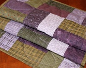 Quilted Purple, Lilac and Olive Table Runner