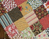 Colorful Modern Lap Quilt Blossom Coral Yellow Green Brown