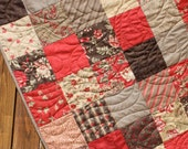 Brown & Red Floral Lap Quilt Chocolat Traditional Patchwork