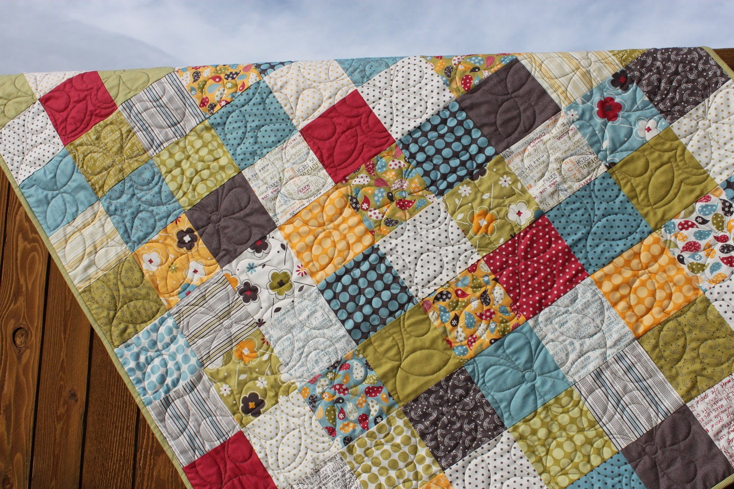 Whimsical Red Blue Green Yellow Amp Gray Quilt By Jennymsquilts