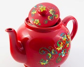 Handpainted Teapot with Flowers