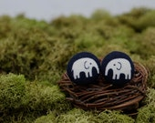 Navy Black Elephant Stud Earrings