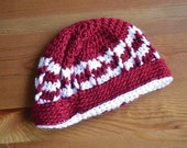 Red and white beanie--READY TO SHIP--Reduced Price!!