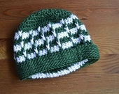Crocheted green and white beanie--READY TO SHIP--Reduced Price!!