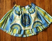 Girl's Blue medallion reversible apron skirt--Size 3T--READY TO SHIP--Reduced Price!!