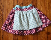 Girl's Berry plaid reversible apron skirt--Size 4--READY TO SHIP--Reduced Price!!