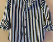 Boy's Striped Button Down Shirt--Size 4--READY TO SHIP--Reduced Price!!