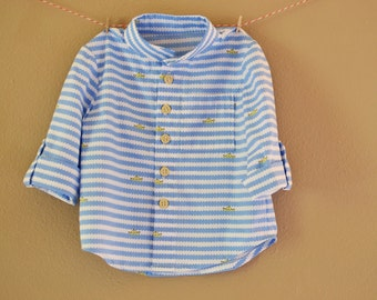 Making Waves Baby Boy Button Down Shirt--Size 6m--READY TO SHIP--Reduced Price!!