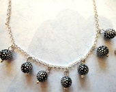 Black Silver Dot Bead Necklace