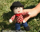 Knitted Cowboy Doll Western Gun Slinging Waldorf Insipired Toy Removable Hat and Bandanna