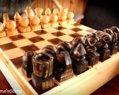 Wood Chess Set Large Hand Turned Classic Family Game