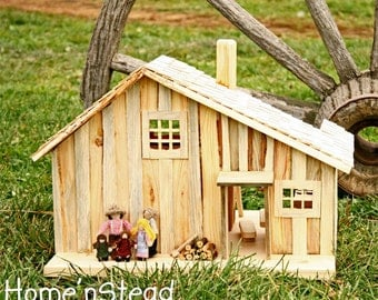 Little House Prairie Dollhouse Playset, Family People, House, Furniture, Accessories, Natural Waldorf