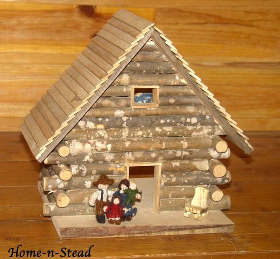 Cabin Dollhouse Includes Furniture Dolls People Accessories Knitted Family Natural Toy Waldorf inspired Set