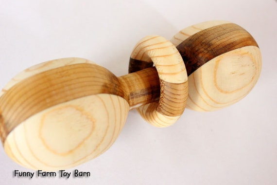 Natural Wood Baby Rattle Teething Ring READY-2-SHIP Hand Turned Multi-Colored Baby Shower Gift