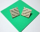 Harry Potter Stud Earrings. Wordsmith. Upcycled Text Literature. Wood Base. Nickel Free. Prizoner of Azkaban..