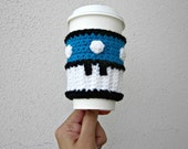 Power Coffee Cozy. Mario Mushroom Inspired Coffee Sleeve. Video Game Super Mushroom. Crochet Blue Cosplay Accessory.
