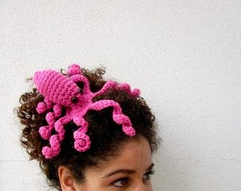 Octopus Statement Fascinator. Fun Whimsical Sea Creature Hair Clip. Nerdy Tentacle Geek Barrette. Fantasy Costume Amigurumi Headpiece. Pink.