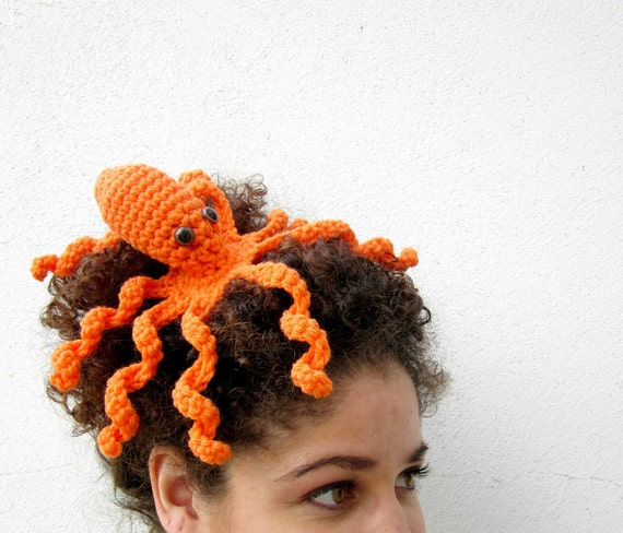 Octopus Statement Fascinator. Fun Whimsical Sea Creature Hair Clip. Nerdy Tentacle Geek Barrette. Fantasy Costume Amigurumi Headpiece.