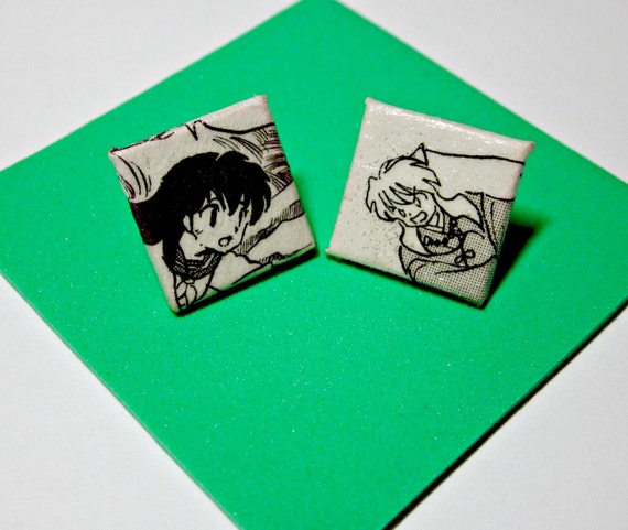 Inu-Yasha and Kagome Stud Earrings. Comic Capture. Manga Anime Comic Collage. Wood Base. Nickel Free. Fox Demon..