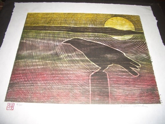 Desert Crow Sunset hand carved woodblock print Japanese washi paper signed Kevin Clark