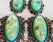 Chunky Confetti Lucite Bracelet Earring Set