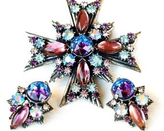 Florenza Rhinestone Art Glass Brooch Set