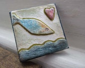 Fish heart magnet - cute whimsical gift