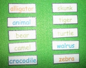 Animal Words ABC Order for Felt Board OR Laminated Flash Cards, Alphabetize, Alphabetical Order, Animals Sight Words, Centers, Montessori