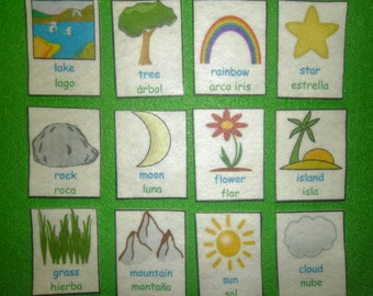 Nature Sight Words in FELT or LAMINATED, Kids Educational, Flash Cards, Montessori Toy, Felt Toy, Felt Board, Autism