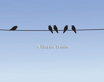 Birds on a Wire Greeting Cards, Set of 8