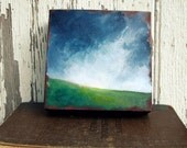 Landscape painting, thunderstorm, cloud, green grass, original oil painting - Stormscape series eleven