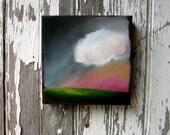 Original oil painting glowing sunset clouds landscape  - Stormscape series thirtysix