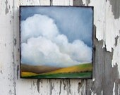 Original art landscape oil painting spring colors April showers thunderstorm clouds earthy big sky 10x10 - Signs of Spring