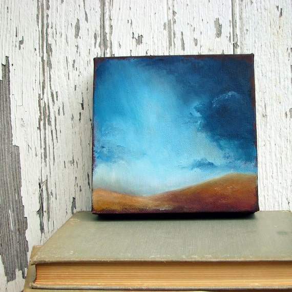 Ethereal light thunderstorm landscape original oil painting - Stormscape series thirteen