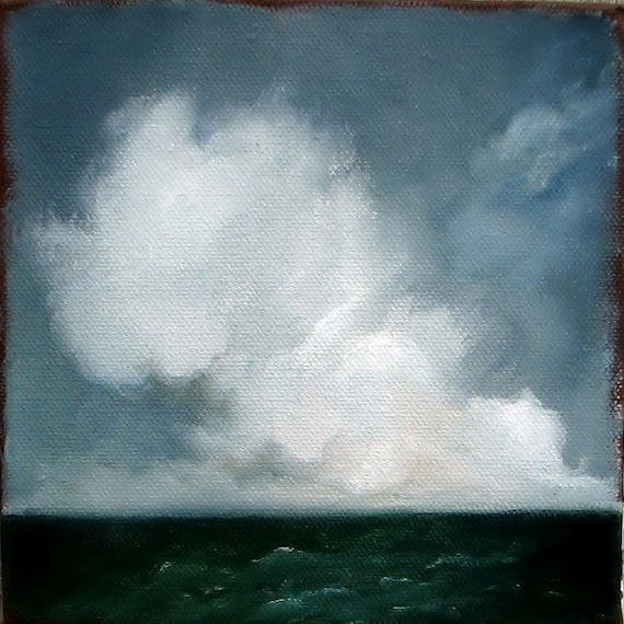 Seascape ocean original oil painting nautical thunderstorm clouds home decor wall art summer storm - Stormscape series forty