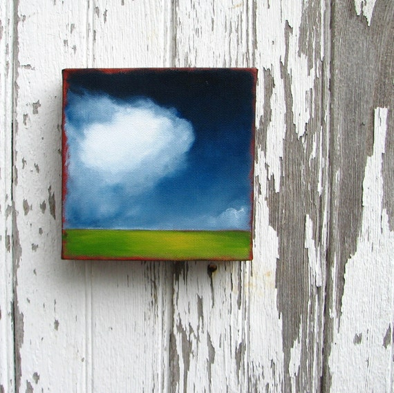 Landscape painting original oil green grass fluffy cloud wall art summer home decor - Stormscape series fortythree
