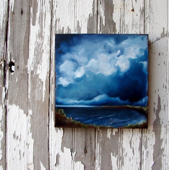 Seascape original oil painting nautical home decor art thunderstorm clouds rustic earthy colors 10x10 -  Thunder Cove
