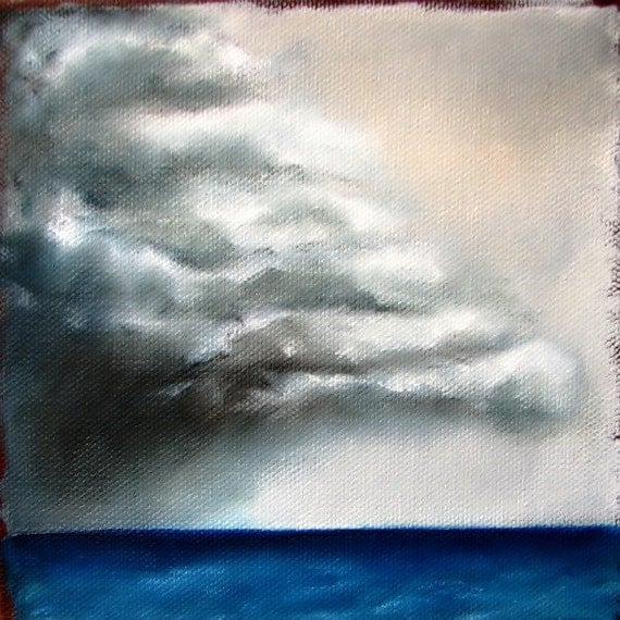 Thunderstorm seascape original oil painting father's day gift- Stormscape series thirtytwo