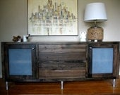 reclaimed media console, sideboard, credenza, furniture, cabinet