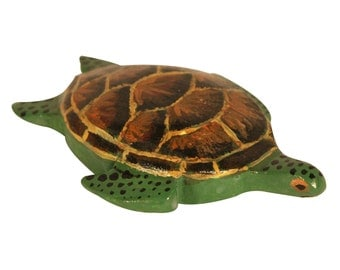 Turtle Woodcarving Hand Painted Tortoise Wood Carving