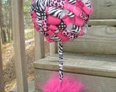Ribbon Topiary in Zebra, Leopard, Hot Pink, Black- Centerpiece/Decoration for Baby Shower/Birthday Party