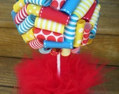 Ribbon Topiary in Red, Yellow, Blue/Turquioise for Max and Ruby/Dr Seuss/Primary Colors Party/Shower Decoration/Centerpiece