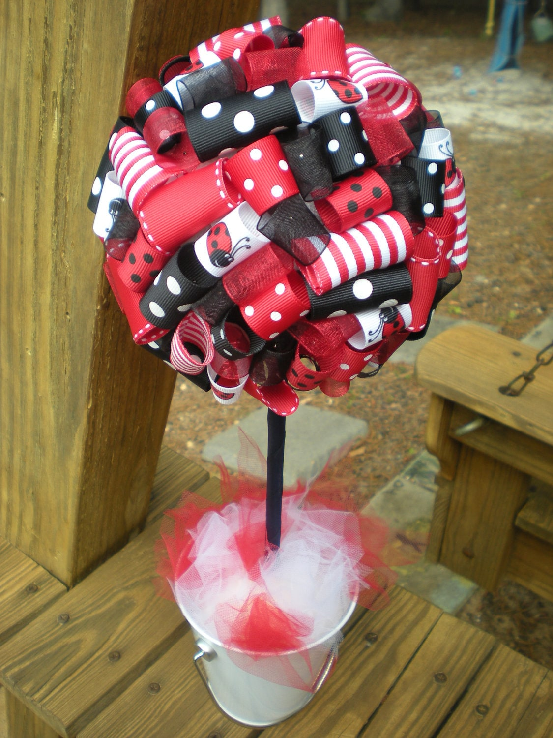 Items similar to ribbon topiary ladybug theme red white