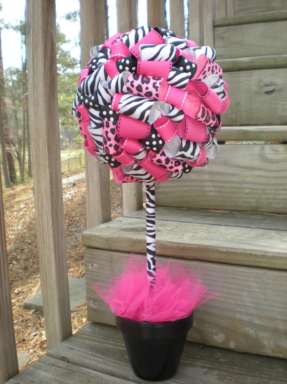 Items Similar To Ribbon Topiary In Zebra Leopard Hot