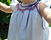 Smocked white bishop dress