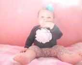 Dark Purple baby onesie with White ruffle flower long sleeve in size nb
