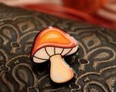 RESERVED for Gwenn. Small mushroom brooch