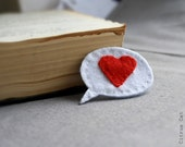 I Feel Love Felt Brooch. Holidays, Christmas, Winter, Valentine, White, Red, Wool, Felt