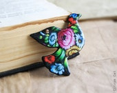 Zhostovo painting  dove brooch - animalistic brooch with pattern. Black, Pink, Green, Flovers, Bouquet, Rustic